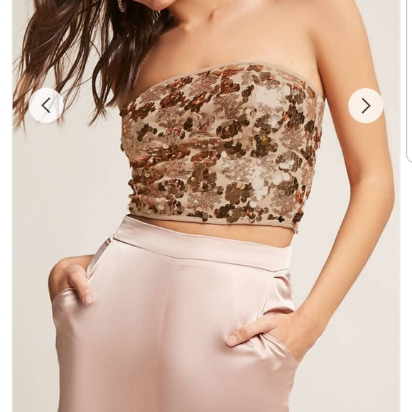 a45a8f7914 Forever 21 Sequin Tube Top Blush Gold